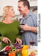 tycka om, par, kärleksfull, förberedande, måltiden