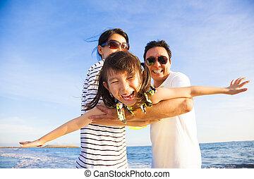 tycka om, sommar, familjvacation, strand, lycklig