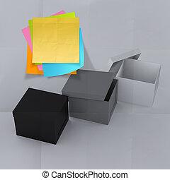 tycka utanför lådan, på, skrynkligt, klistrig anteckning,...