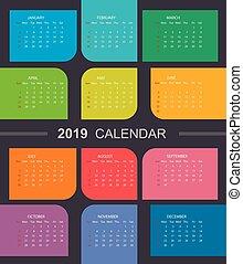 tydzień, barwny, wzdryga się, sunday., kalendarz, 2019.