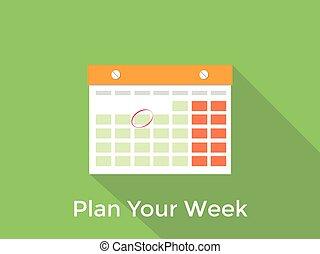 tydzień, pojęcie, długi, twój, zielony, plan, tło, cień, kalendarz