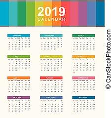 tydzień, układ, prosty, wzdryga się, sunday., rok, kalendarz, 2019.
