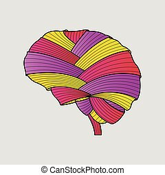 tyg, abstrakt, painting., färgrik, hjärna, handdrawn