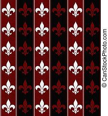 tyg, Av,  fleur, vit, svart, bakgrund, Läsidor, röd, Strukturerad