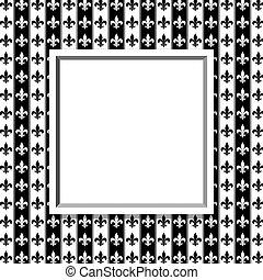tyg, mönster, ram, Av,  fleur, svart, Läsidor, vit, Strukturerad