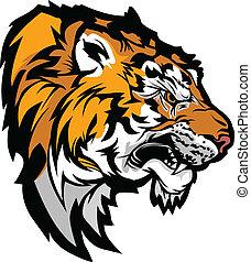tygrys formują główki, profil, graficzny, maskotka, ilustracja