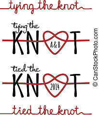 tying the knot, rope heart for wedding invitation, set of vector design elements