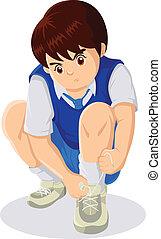 Tying The Shoe - Cartoon illustration of child tying...