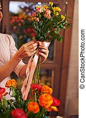 Tying up roses