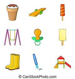 Tyke icons set, cartoon style - Tyke icons set. Cartoon set...