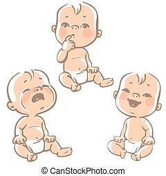 tyle - Set of baby emotion icons. Cartoon little babies in ...