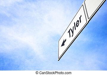 tyler, signboard, apontar, direção