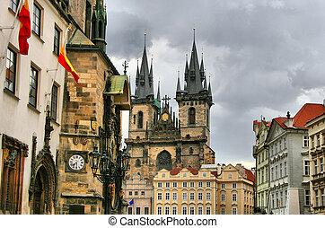 Tyn Cathedral (Church of St. Mother before Tyn). Prague. Czech republic.