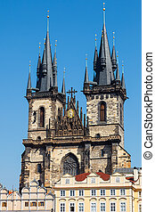 Tyn Cathedral in Prague - Tyn Cathedral on Prague Town...