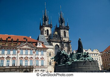 Old Town Square - Tyn Church in Old Town Square, Prague.