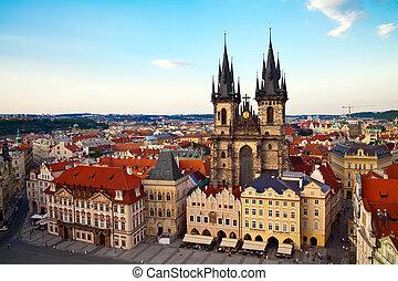 Tyn Church in Prague From Above - view of the Tyn Church in...