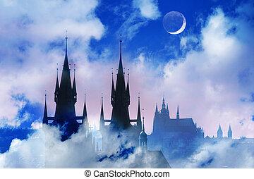tyn, silhouette, tchèque, section, prague, élevé, république, église, night.