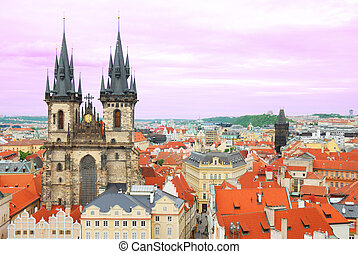 tyn, tchèque, prague, république, église, devant, notre, ...