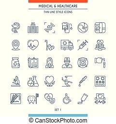 tynd linje, konstruktion, medicinske ikoner, 1