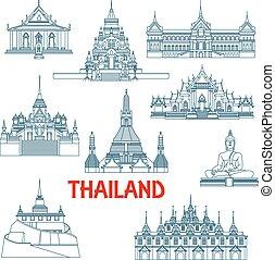 tynd, thai, landemærker, beklæde, iconerne, rejse