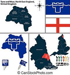 tyne, βόρεια , αγγλία , uk , φορώ , ανατολή