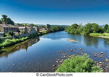 tyne, haydon, northumberland., sur, río, puente