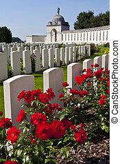 tyne, lit camp, cimetière, dans, ypres