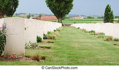 tyne, tombes, lit camp, cimetière, ypres, passchendaele, flandre, mondiale, belgique, soldats, baissé, guerre