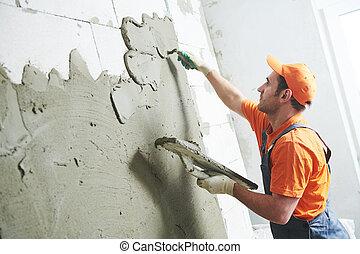 tynk, wall., tynkarz, renowacja, home., rozpościerający się