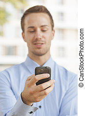 typ, smartphone, sms, man