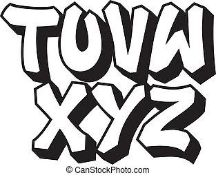 type., alfabet, 3, część, graffiti, chrzcielnica