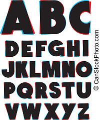 type., alfabeto, efeito, óculos, vetorial, fonte, 3d