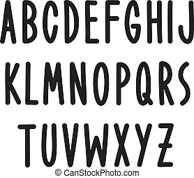 type., alfabeto, mão, vetorial, desenhado, fonte