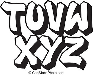 type., alphabet, 3, partie, graffiti, police