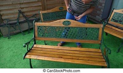 type, amateur, bench., électrique, réparation, tournevis, vendange