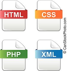 type, bestand, iconen