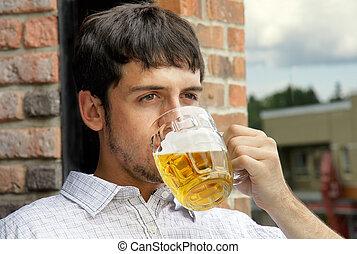 type, boire, bière, jeune