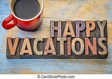 type, bois, vacances, heureux