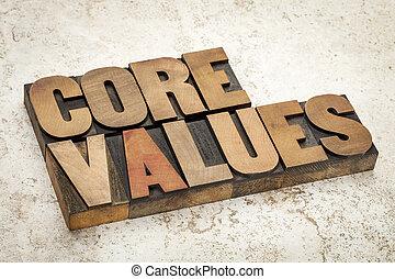 type, bois, valeurs, noyau