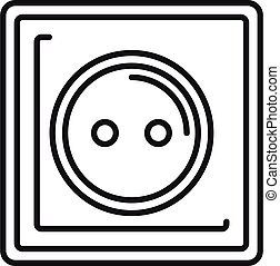 Type c power socket icon, outline style