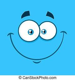 type caractère drôle, sourire, expression, dessin animé, heureux