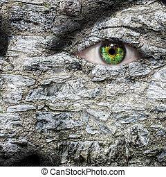 type caractère pierre, à, oeil vert