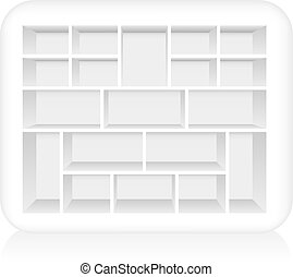 Empty white type case to be filled. Isolated vector on white background.