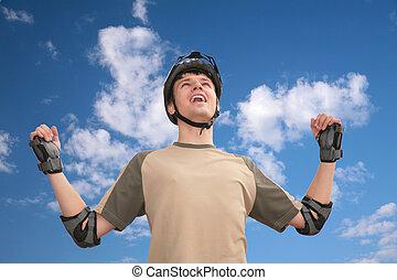 type, dans, casque sports, à, rised, mains