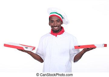 type, dehors, prendre, pizza