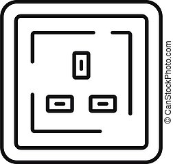 Type g power socket icon, outline style