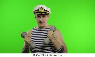 type, gilet, homme marin, marin, dumbbells., haltérophilie, confection, sailor's