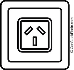 Type i power socket icon, outline style