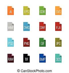 type, iconen, -, bestand, grafiek