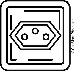 Type j power socket icon, outline style
